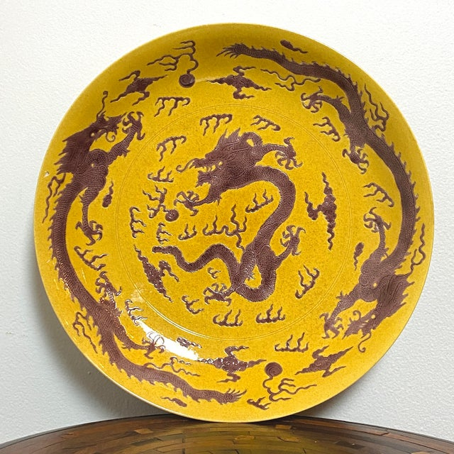 Ceramic Early 20th Century Chinese Imperial Yellow Craquelure Plate With Eggplant Colored Dragons For Sale - Image 7 of 7