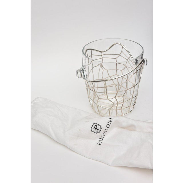 Transparent Italian Pampaloni Sterling Silver & Glass Sculptural Ice/Champagne Bucket For Sale - Image 8 of 10