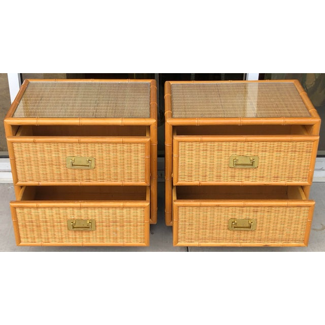 Coastal Style Bamboo/Rattan Nightstands For Sale - Image 4 of 8