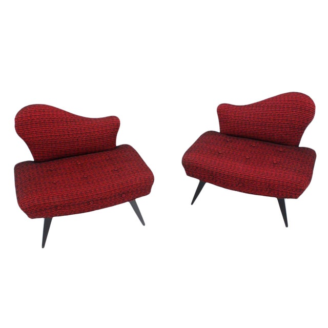 Pair of Fireside Slipper Chairs Fire Bird Shape For Sale