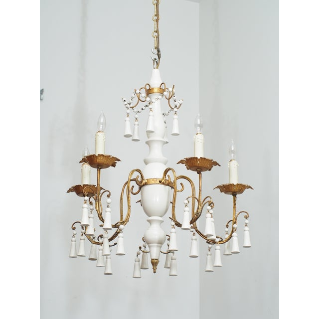 Vintage White Paint Wood And Tole Chandelier Image 7 Of