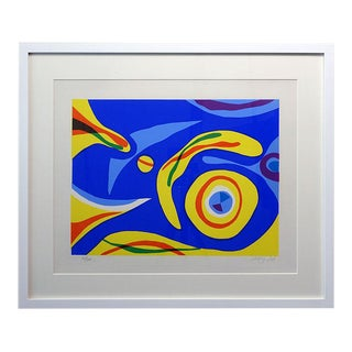 Mid 20th Century Abstract Silkscreen Print Signed Godfrey Leed, Framed For Sale