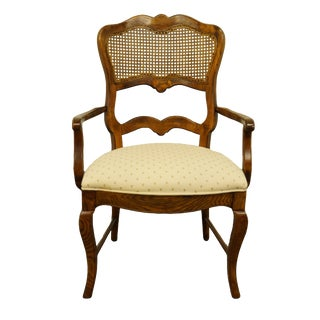 Vintage Century Furniture Country French Provincial Cane Back Arm Chair For Sale