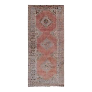 Vintage Distressed Oushak Rug Runner 5'2'' X 11'6'' For Sale
