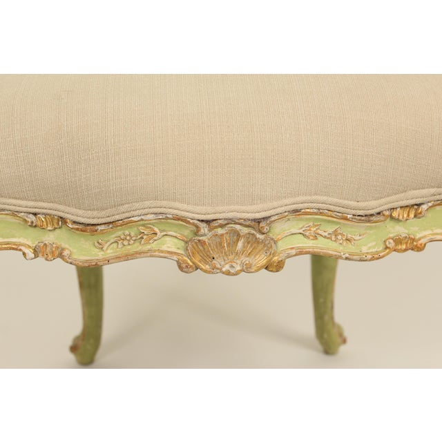 Tan Late 19th Century Antique Louis XV Style Painted Armchairs- A Pair For Sale - Image 8 of 13