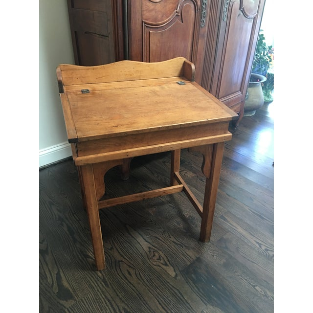 Antique Country Pine Slant Top Children's School Desk - Image 2 of 11