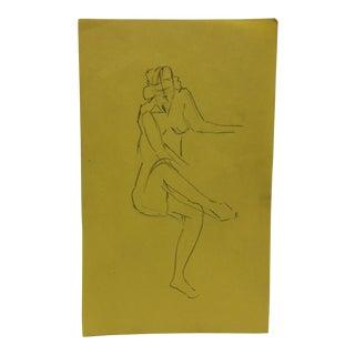 "Vintage Original Drawing on Paper, ""Crossed Legs"" by Tom Sturges Jr., 1947 For Sale"