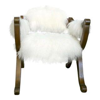 Drexel Mongolian Sheepskin Upholstered Vintage Armchair