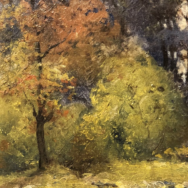 Canvas Autumn Forest Oil on Canvas Early 20th Century For Sale - Image 7 of 11