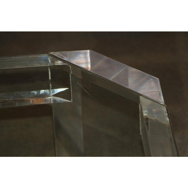 1980s Charles Hollis Jones Model 505 Lucite and Glass Coffee Table For Sale - Image 5 of 7