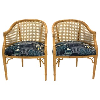 Chinoiserie Cane Armchairs — a Pair