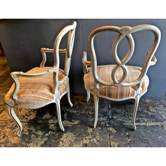Baroque Set of 8 Italian-Ventian Style Ribbon Back Dining Chairs For Sale - Image 3 of 12