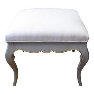 French Louis XV Style Gray Bench With Linen Upholstery