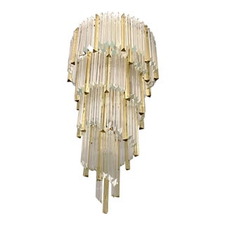 1970s Venini Italian Vintage Amber and Crystal Clear Murano Glass Chandelier For Sale