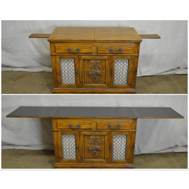 Davis Cabinet Company Davis Cabinet Co. Solid Walnut French Provincial Flip Top Server For Sale - Image 4 of 11