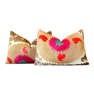 Rabiya Antique Suzani Lumbar Pillows, Pair For Sale