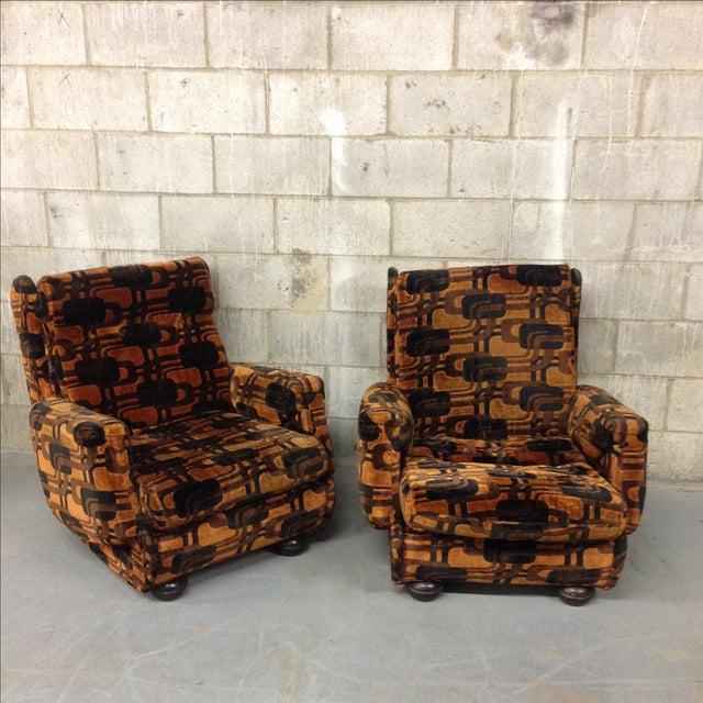 The seller says: Super groovy retro armchairs! We got these in France, the fabric is original and such a great vintage...