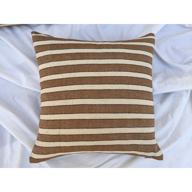 Striped Woven Neutral Pillows - Pair - Image 3 of 7