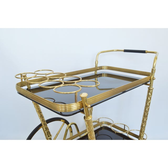 Vintage Italian Brass and Black Glass Bar Tea Cart Mid-Century Modern McM- Cesare Lacca Aldo Tura Style Venetian Millennial For Sale - Image 9 of 11
