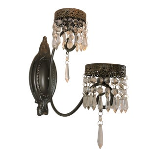 Vintage Pretty Brass and Crystal Double Candle Wall Sconce For Sale