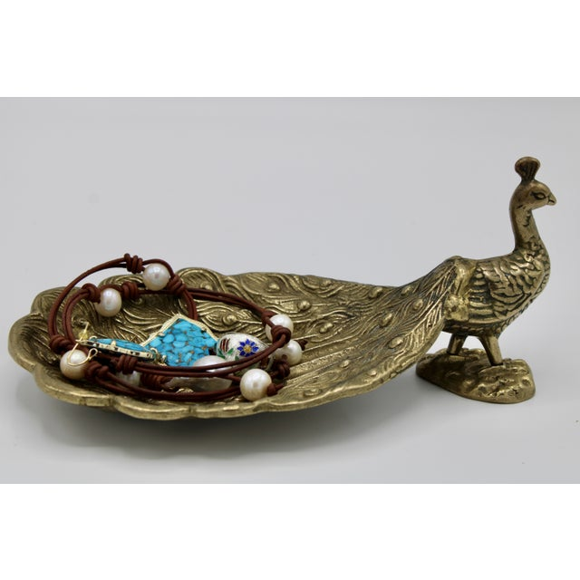 Mid Century Brass Peacock Catchall For Sale In Tulsa - Image 6 of 10