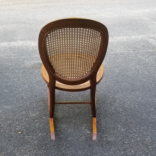 Children's Vintage Cane Sewing Rocking Chair Children's Chair For Sale - Image 3 of 8