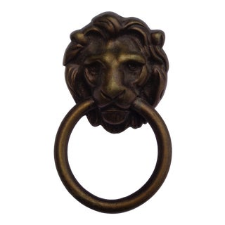 Antique Metal Lions' Head Drawer Pulls With Hardware For Sale
