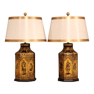 Late 19th Century English Hand Painted & Gilt Tole Tea Canisters Lamps- A Pair For Sale