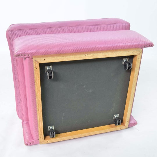 Fratelli Saporiti Hot Pink Leather Ottoman - Image 5 of 6