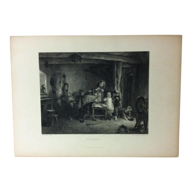 """Antique Print on Paper, """"Playmates"""" by Lumb Stocks, Circa 1880 For Sale"""