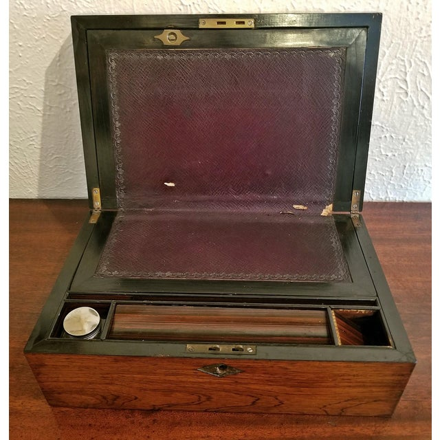 Early 19c Irish Mahogany Writing Slope With Armorial Crest For Sale - Image 11 of 13