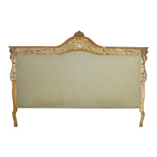 Baroque Whitewashed and Upholstered Headboard King Size With Carved Lion Heads For Sale