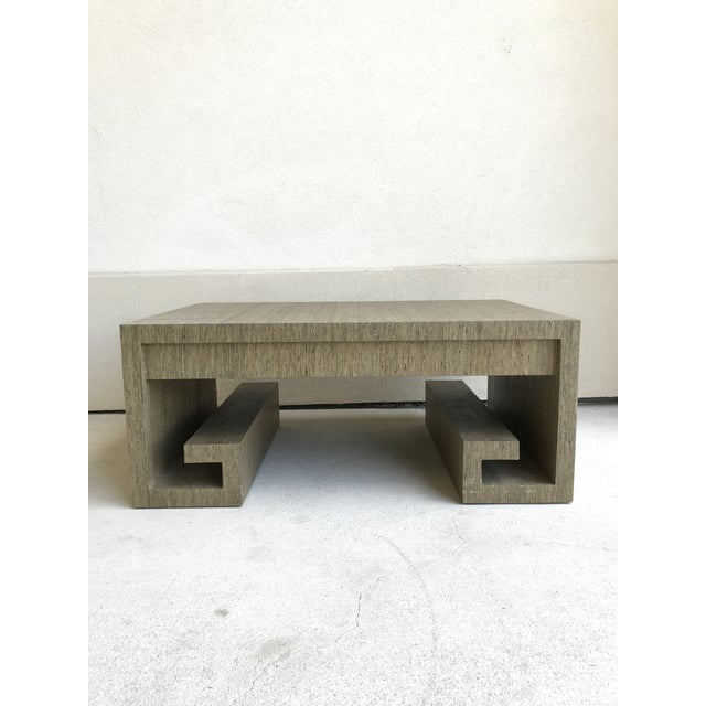 Grasscloth Greek Key Coffee Table For Sale - Image 12 of 13