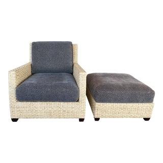 McGuire Vintage Woven Split Bamboo Armchair + Ottoman For Sale