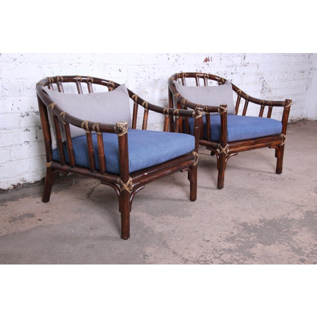 Boho Chic McGuire Hollywood Regency Mid-Century Modern Bent Rattan Lounge Chairs - a Pair For Sale - Image 3 of 13