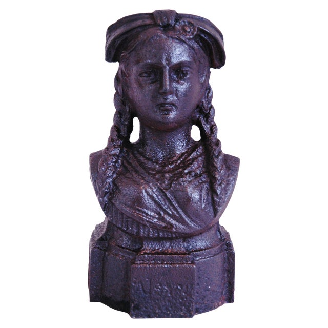 19th Century French Iron Lady Bust Fragment - Image 1 of 9