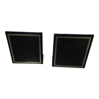 Traditional Black Leather Bookends- a Pair For Sale