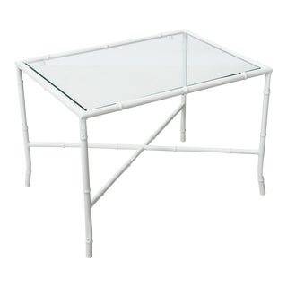 1960s Hollywood Regency White Faux Bamboo Powder Coated Side Table For Sale