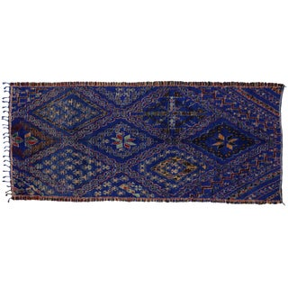 Beni Ourain Blue Moroccan Rug, 6'3 x 13'7