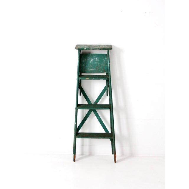 Cottage Vintage Green Wooden Ladder For Sale - Image 3 of 10