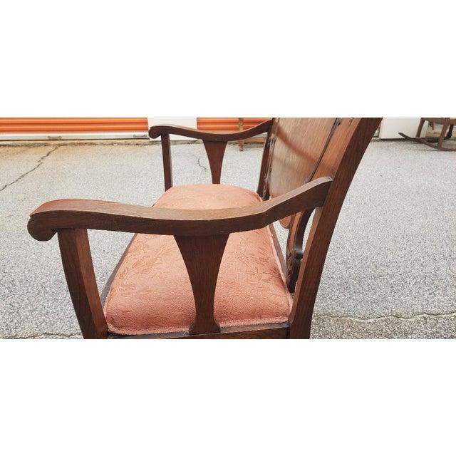 Vintage Mid Century Brown Wood Settee For Sale In Atlanta - Image 6 of 11