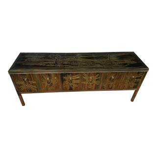 1980s Asian Moden Brass Credenza For Sale