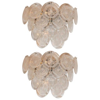 Modernist 14-Disc Sconces in Handblown Murano Clear Glass - a Pair For Sale