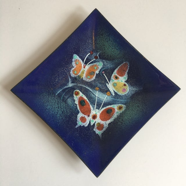 Mid Century Enamel on Copper Dish Butterflies For Sale - Image 4 of 4