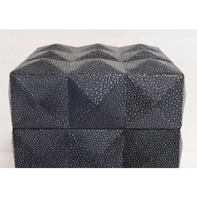Italian black Shagreen box with four sided pyramid pattern designed by Fabio Bergomi / Made in Italy Height: 8 inches /...