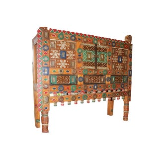 Antique Indian Rustic Console Damchia Sideboard Hand Carved Chest For Sale