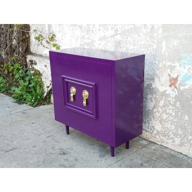 Hollywood Regency Deep Purple Vintage Lacquered Bar Cabinet - Image 6 of 8
