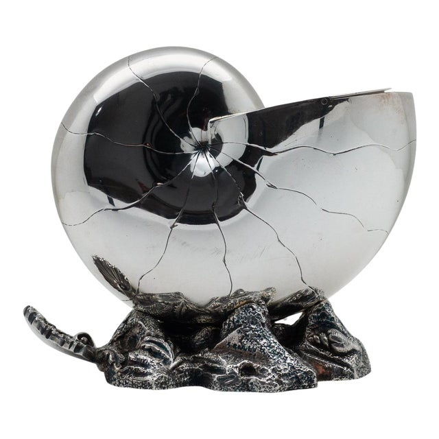 1870 English Nautilus Spoon Warmer, Silver Plated For Sale