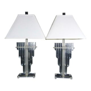 1970s Vintage Hollywood Regency Lucite Shield Form Lamps - a Pair For Sale