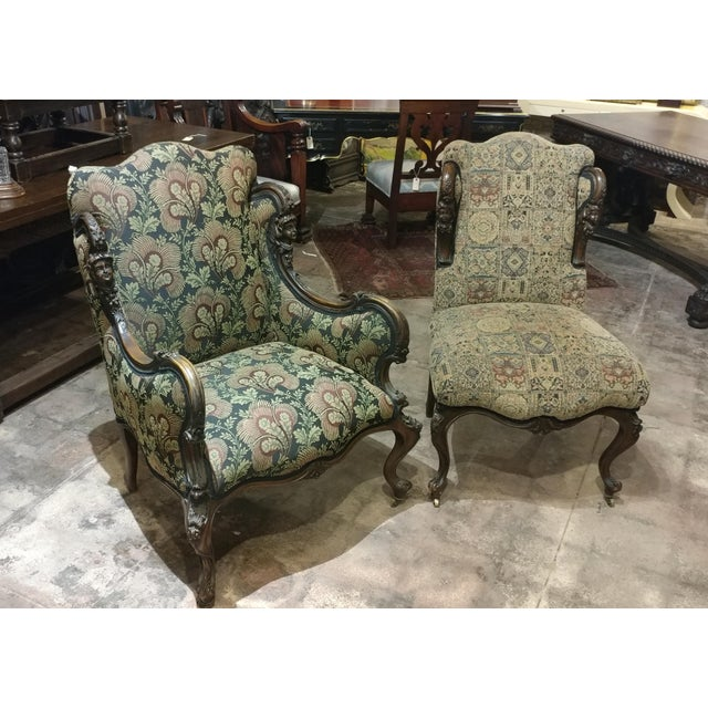 "Pair of 19th century Victorian tapestry chairs with carved heads. size of Armchair 28w x 22d x 42""h seat height 20"" size..."